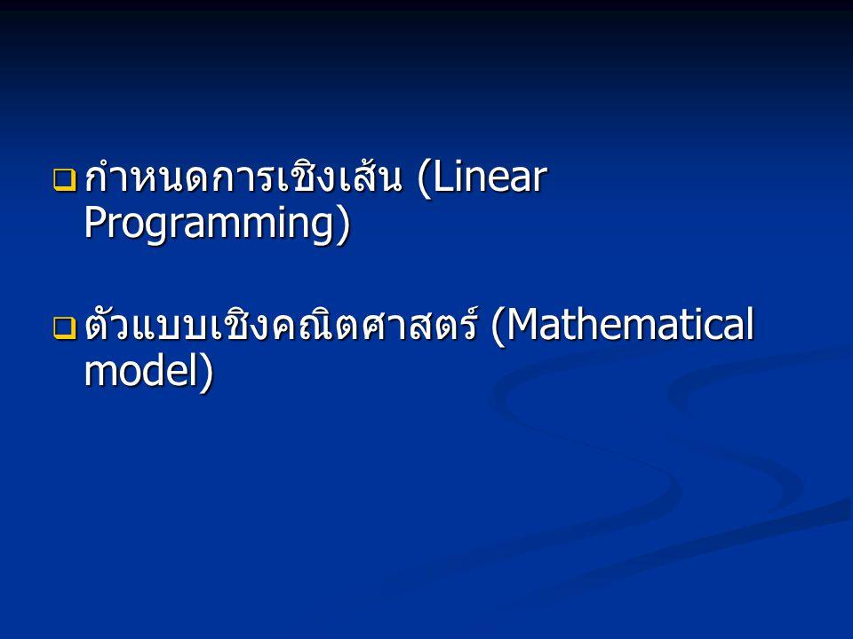  กำหนดการเชิงเส้น (Linear Programming)  ตัวแบบเชิงคณิตศาสตร์ (Mathematical model)