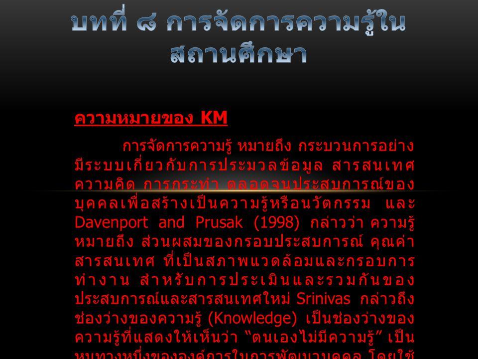 ความหมายของ KM การจัดการความรู้ หมายถึง กระบวนการอย่าง มีระบบเกี่ยวกับการประมวลข้อมูล สารสนเทศ ความคิด การกระทำ ตลอดจนประสบการณ์ของ บุคคลเพื่อสร้างเป็นความรู้หรือนวัตกรรม และ Davenport and Prusak (1998) กล่าวว่า ความรู้ หมายถึง ส่วนผสมของกรอบประสบการณ์ คุณค่า สารสนเทศ ที่เป็นสภาพแวดล้อมและกรอบการ ทำงาน สำหรับการประเมินและรวมกันของ ประสบการณ์และสารสนเทศใหม่ Srinivas กล่าวถึง ช่องว่างของความรู้ (Knowledge) เป็นช่องว่างของ ความรู้ที่แสดงให้เห็นว่า ตนเองไม่มีความรู้ เป็น หนทางหนึ่งขององค์การในการพัฒนาบุคคล โดยใช้ กระบวนการของการจัดการความรู้เพื่อลดช่องว่าง และเติมเต็มความรู้ให้แก่บุคลากรเหล่านั้น