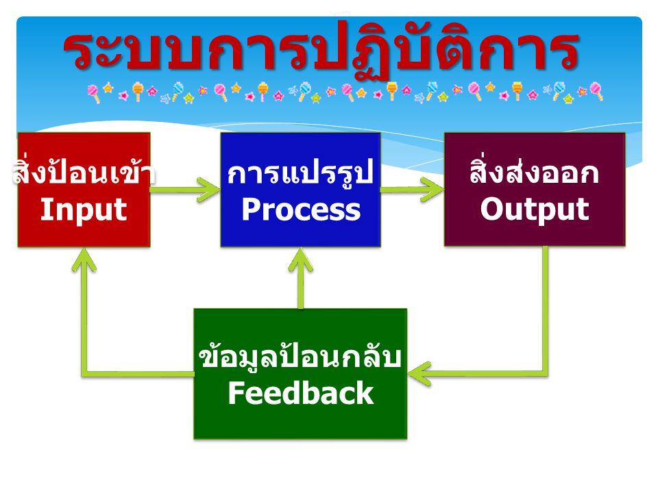 สิ่งป้อนเข้า Input สิ่งป้อนเข้า Input ระบบการปฏิบัติการ การแปรรูป Process การแปรรูป Process สิ่งส่งออก Output สิ่งส่งออก Output ข้อมูลป้อนกลับ Feedback ข้อมูลป้อนกลับ Feedback