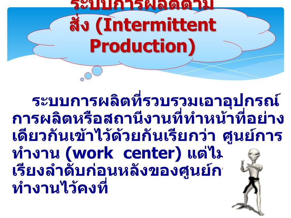 ระบบการผลิตที่รวบรวมเอาอุปกรณ์ การผลิตหรือสถานีงานที่ทำหน้าที่อย่าง เดียวกันเข้าไว้ด้วยกันเรียกว่า ศูนย์การ ทำงาน (work center) แต่ไม่มีการ เรียงลำดับก่อนหลังของศูนย์การ ทำงานไว้คงที่ ระบบการผลิตตาม สั่ง (Intermittent Production)