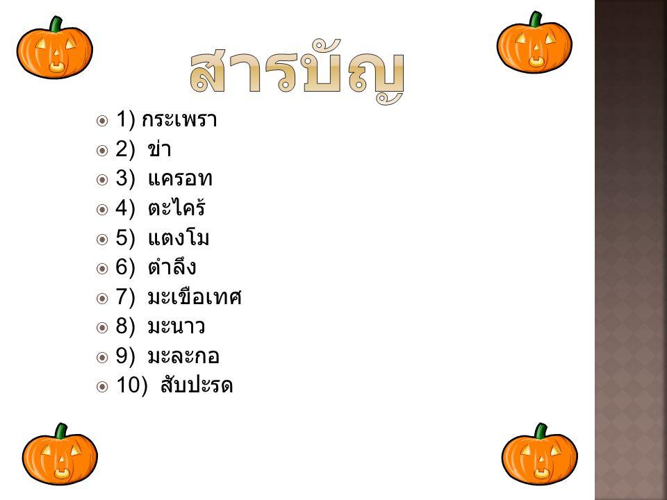  1) กระเพรา  2) ข่า  3) แครอท  4) ตะไคร้  5) แตงโม  6) ตำลึง  7) มะเขือเทศ  8) มะนาว  9) มะละกอ  10) สับปะรด
