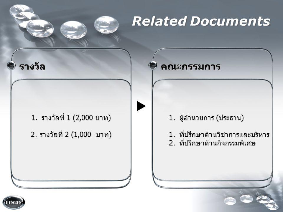 LOGO Related Documents คณะกรรมการ คณะกรรมการ 1. ผู้อำนวยการ ( ประธาน ) 1. ที่ปรึกษาด้านวิชาการและบริหาร 2. ที่ปรึกษาด้านกิจกรรมพิเศษ รางวัล รางวัล 1.