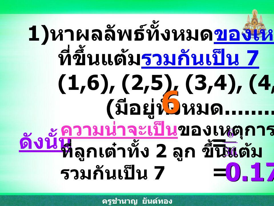 ครูชำนาญ ยันต์ทอง 1) หาผลลัพธ์ทั้งหมดของเหตุการณ์ ที่ขึ้นแต้มรวมกันเป็น 7 (1,6), (2,5), (3,4), (4,3), (5,2), (6,1) ( มีอยู่ทั้งหมด............. กรณี )