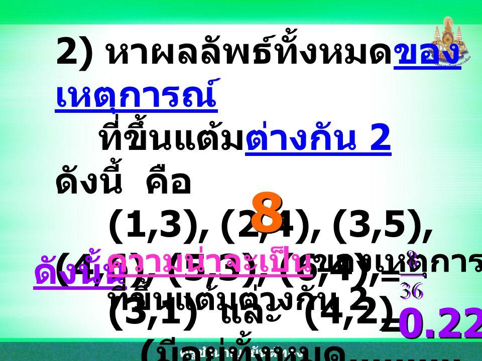 ครูชำนาญ ยันต์ทอง 2) หาผลลัพธ์ทั้งหมดของ เหตุการณ์ ที่ขึ้นแต้มต่างกัน 2 ดังนี้ คือ (1,3), (2,4), (3,5), (4,6), (5,3), (6,4), (3,1) และ (4,2) ( มีอยู่ทั้งหมด..........