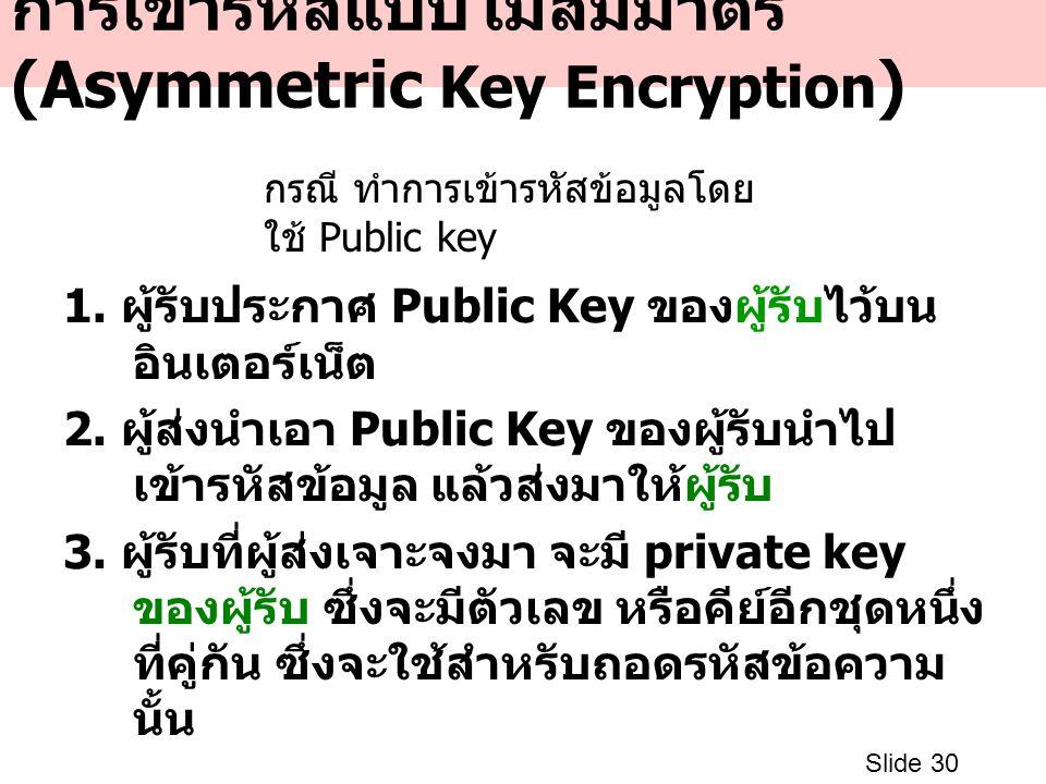 การเข้ารหัสแบบไม่สมมาตร (Asymmetric Key Encryption ) 1. ผู้รับประกาศ Public Key ของผู้รับไว้บน อินเตอร์เน็ต 2. ผู้ส่งนำเอา Public Key ของผู้รับนำไป เข