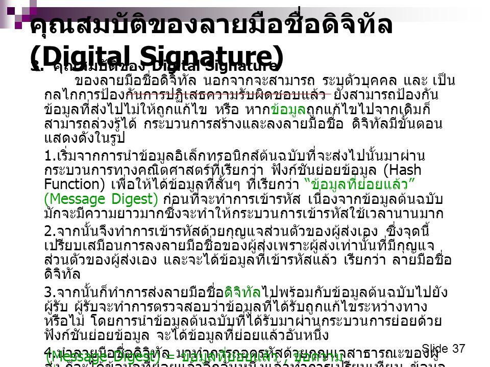 กระบวนการลงลายมือชื่อดิจิทัล (Digital Signature) Slide 38 จำนวนเงิน 1 ล้านบาท ผู้ส่ง ( นายแสน ขยัน ) ผู้รับ ( นางสาว น่ารัก ) ฟังก์ชันย่อยข้อมูล การเข้ารหัส ข้อมูลต้นฉบับ A จำนวนเงิน 1 ล้านบาท ฟังก์ชันย่อยข้อมูล การถอดรหัส เปรียบเทียบกัน ข้อมูลต้นฉบับ A กุญแ จ ส่วนตั วของ ผู้ส่ง ลายมือชื่อดิจิทัลของ นายแสนขยันสำหรับ ข้อมูลนี้ ส่ง ลายมือชื่อดิจิทัลของ นายแสนขยันสำหรับ ข้อมูลนี้ กุญแจ สาธารณะ ของผู้ส่ง ถ้าเหมือนกัน แสดงว่าข้อมูลไม่ ถูกเปลี่ยนแปลง ถ้าต่างกันแสดง ว่าข้อมูลถูก เปลี่ยนแปลง จำนวนเงิน 1 ล้านบาท ข้อมูล ที่ย่อย แล้ว ฟังก์ย่อยข้อมูลของผู้ส่ง และฟังก์ย่อยข้อมูล ของผู้รับ เป็นตัวเดียวกัน
