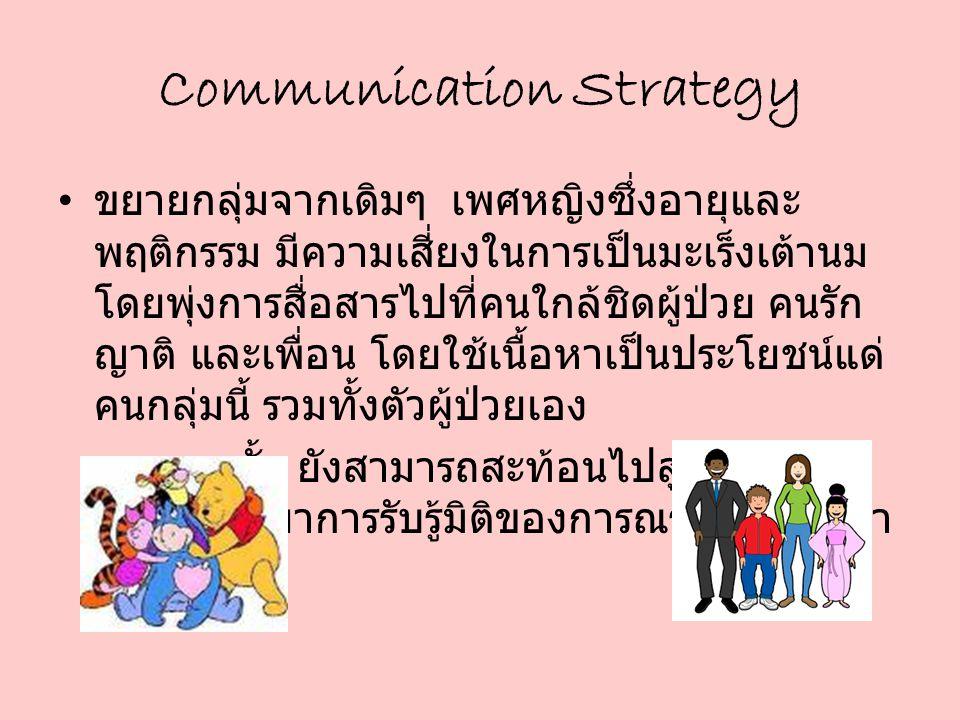 Communication Strategy ขยายกลุ่มจากเดิมๆ เพศหญิงซึ่งอายุและ พฤติกรรม มีความเสี่ยงในการเป็นมะเร็งเต้านม โดยพุ่งการสื่อสารไปที่คนใกล้ชิดผู้ป่วย คนรัก ญา