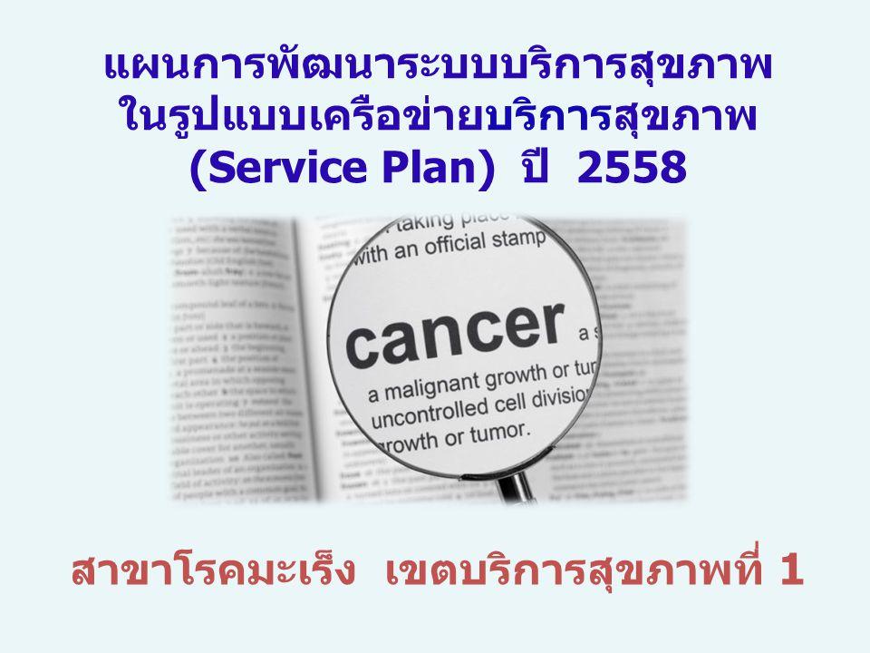 สาขาโรคมะเร็ง เขตบริการสุขภาพที่ 1 แผนการพัฒนาระบบบริการสุขภาพ ในรูปแบบเครือข่ายบริการสุขภาพ (Service Plan) ปี 2558