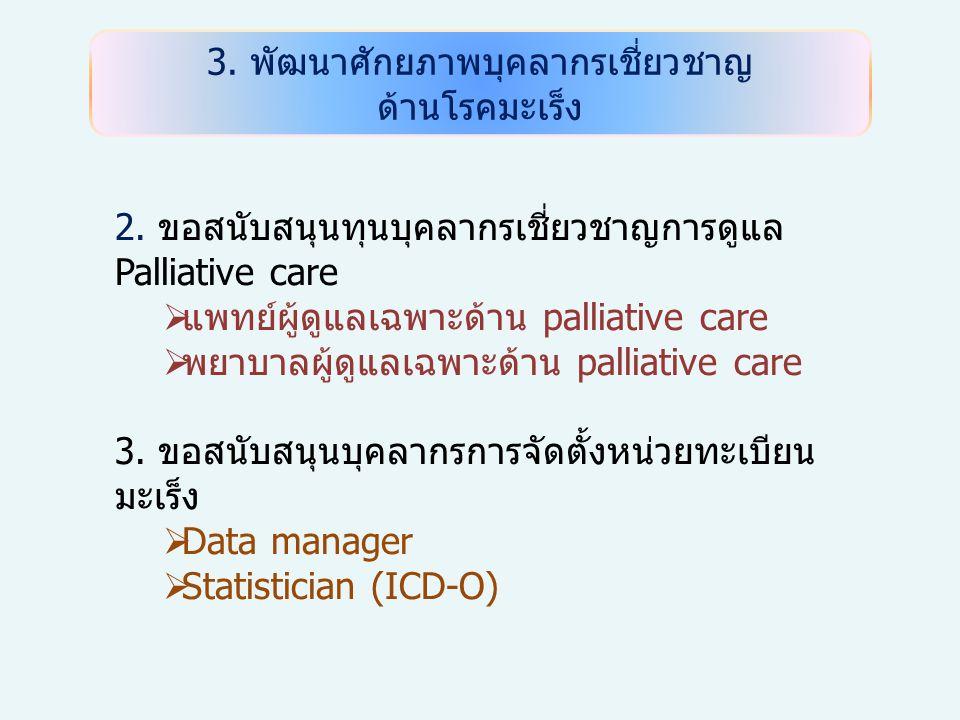 3.พัฒนาศักยภาพบุคลากรเชี่ยวชาญ ด้านโรคมะเร็ง 2.