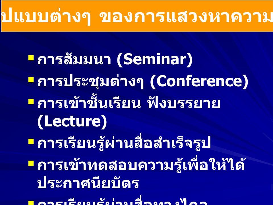   การสัมมนา (Seminar)   การประชุมต่างๆ (Conference)   การเข้าชั้นเรียน ฟังบรรยาย (Lecture)   การเรียนรู้ผ่านสื่อสำเร็จรูป   การเข้าทดสอบความ