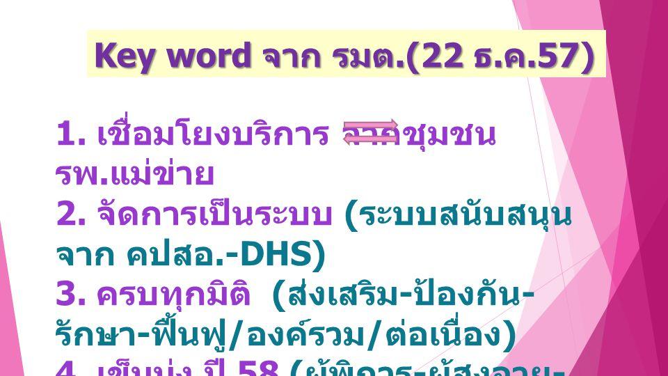 Key word จาก รมต.(22 ธ.ค.57) 1.เชื่อมโยงบริการ จากชุมชน รพ.