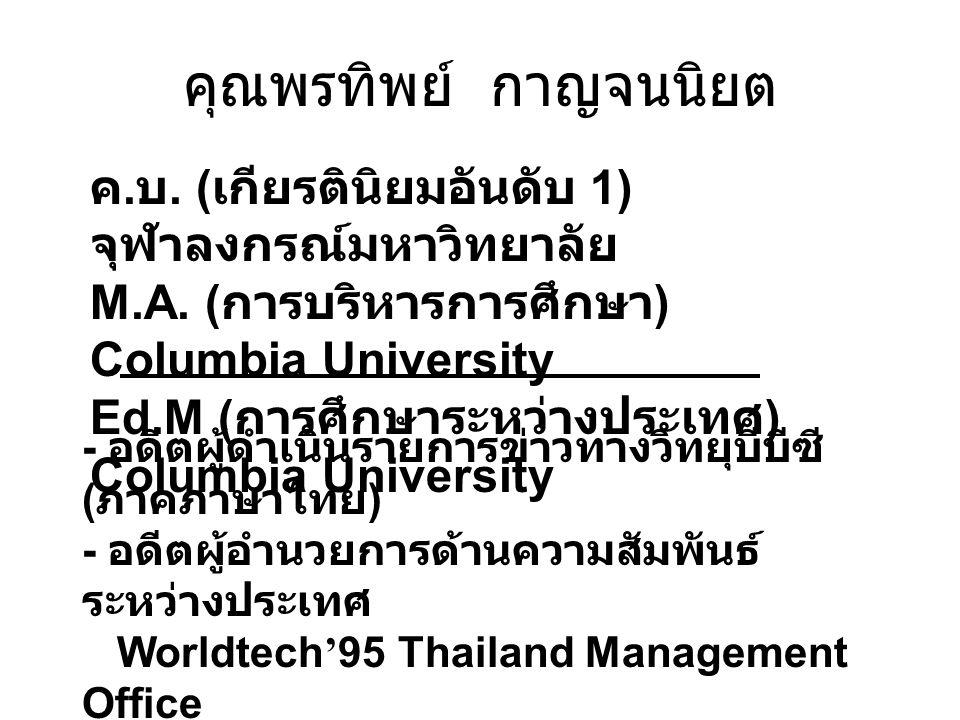 คุณพรทิพย์ กาญจนนิยต ค. บ. ( เกียรตินิยมอันดับ 1) จุฬาลงกรณ์มหาวิทยาลัย M.A. ( การบริหารการศึกษา ) Columbia University Ed.M ( การศึกษาระหว่างประเทศ )
