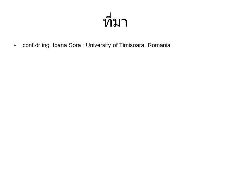 ที่มา conf.dr.ing. Ioana Sora : University of Timisoara, Romania