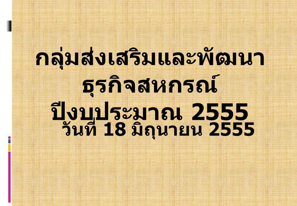 กลุ่มส่งเสริมและพัฒนา ธุรกิจสหกรณ์ ปีงบประมาณ 2555 วันที่ 18 มิถุนายน 2555