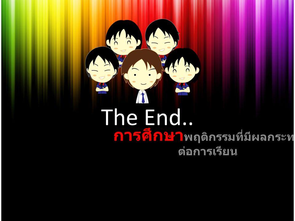 The End.. การศึกษา พฤติกรรมที่มีผลกระทบ ต่อการเรียน