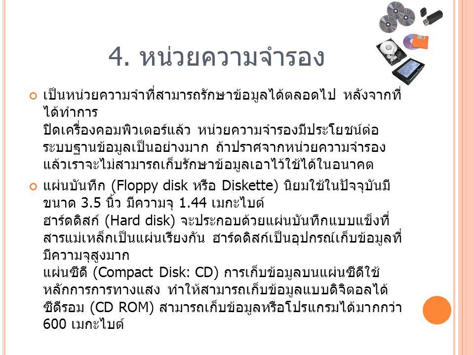 4. หน่วยความจํารอง เป็นหน่วยความจําที่สามารถรักษาข้อมูลได้ตลอดไป หลังจากที่ ได้ทําการ ปิดเครื่องคอมพิวเตอร์แล้ว หน่วยความจํารองมีประโยชน์ต่อ ระบบฐานข้