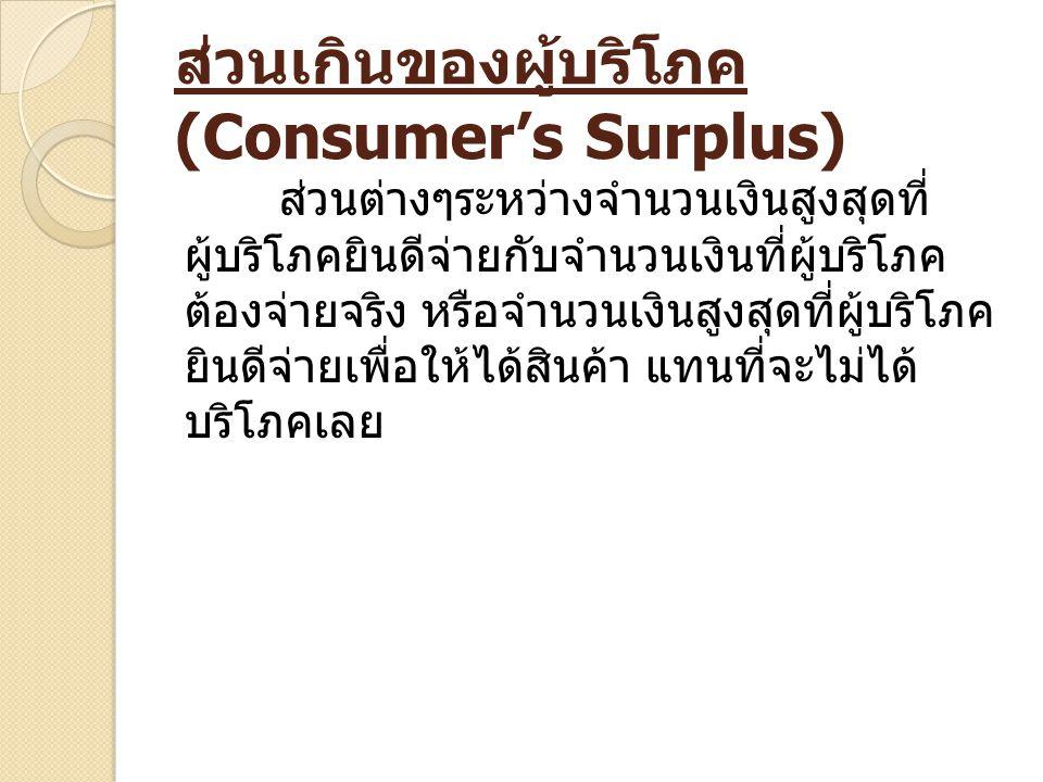ส่วนเกินของผู้บริโภค (Consumer's Surplus) ส่วนต่างๆระหว่างจำนวนเงินสูงสุดที่ ผู้บริโภคยินดีจ่ายกับจำนวนเงินที่ผู้บริโภค ต้องจ่ายจริง หรือจำนวนเงินสูงส