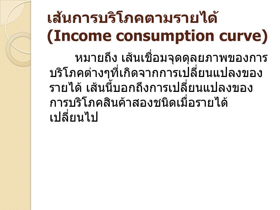 เส้นการบริโภคตามรายได้ (Income consumption curve) หมายถึง เส้นเชื่อมจุดดุลยภาพของการ บริโภคต่างๆที่เกิดจากการเปลี่ยนแปลงของ รายได้ เส้นนี้บอกถึงการเปล