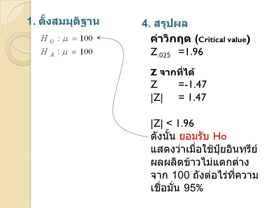 1. ตั้งสมมุติฐาน 4. สรุปผล Z จากที่ได้ Z=-1.47 |Z| = 1.47 |Z| < 1.96 ดังนั้น ยอมรับ Ho แสดงว่าเมื่อใช้ปุ๋ยอินทรีย์ ผลผลิตข้าวไม่แตกต่าง จาก 100 ถังต่อ