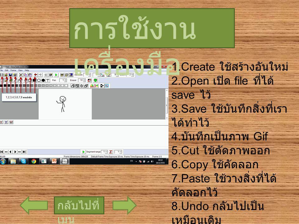 การใช้งาน เครื่องมือ กลับไปที่ เมนู 1.Create ใช้สร้างอันใหม่ 2.Open เปิด file ที่ได้ save ไว้ 3.Save ใช้บันทึกสิ่งที่เรา ได้ทำไว้ 4. บันทึกเป็นภาพ Gif