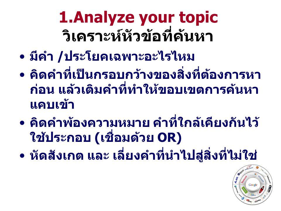 1.Analyze your topic วิเคราะห์หัวข้อที่ค้นหา มีคำ /ประโยคเฉพาะอะไรไหม คิดคำที่เป็นกรอบกว้างของสิ่งที่ต้องการหา ก่อน แล้วเติมคำที่ทำให้ขอบเขตการค้นหา แคบเข้า คิดคำพ้องความหมาย คำที่ใกล้เคียงกันไว้ ใช้ประกอบ (เชื่อมด้วย OR) หัดสังเกต และ เลี่ยงคำที่นำไปสู่สิ่งที่ไม่ใช่
