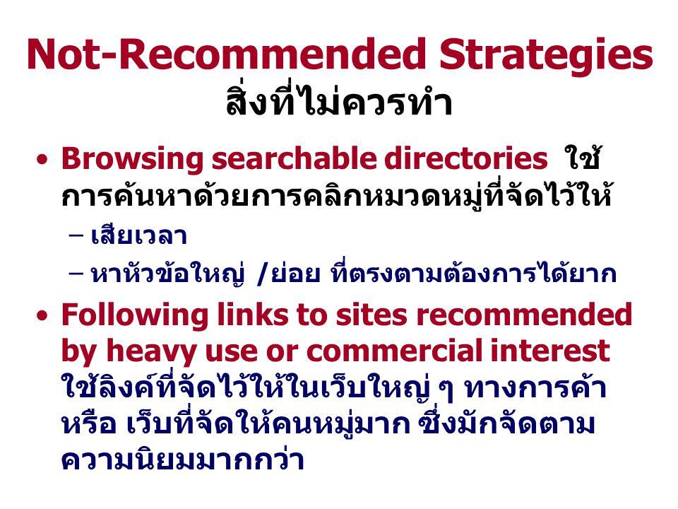 Not-Recommended Strategies สิ่งที่ไม่ควรทำ Browsing searchable directories ใช้ การค้นหาด้วยการคลิกหมวดหมู่ที่จัดไว้ให้ –เสียเวลา –หาหัวข้อใหญ่ /ย่อย ที่ตรงตามต้องการได้ยาก Following links to sites recommended by heavy use or commercial interest ใช้ลิงค์ที่จัดไว้ให้ในเว็บใหญ่ ๆ ทางการค้า หรือ เว็บที่จัดให้คนหมู่มาก ซึ่งมักจัดตาม ความนิยมมากกว่า