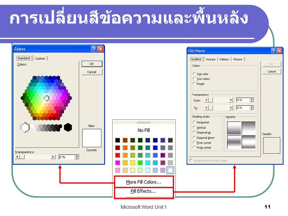 Microsoft Word Unit 111 การเปลี่ยนสีข้อความและพื้นหลัง