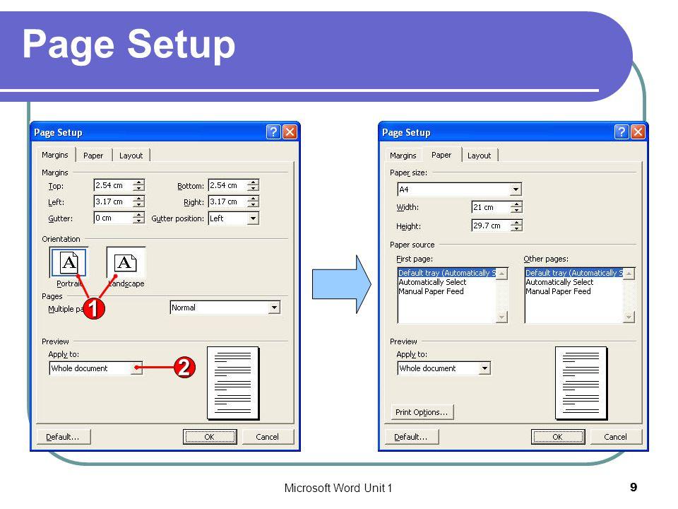 Microsoft Word Unit 110 Page Setup (Cont.) 1
