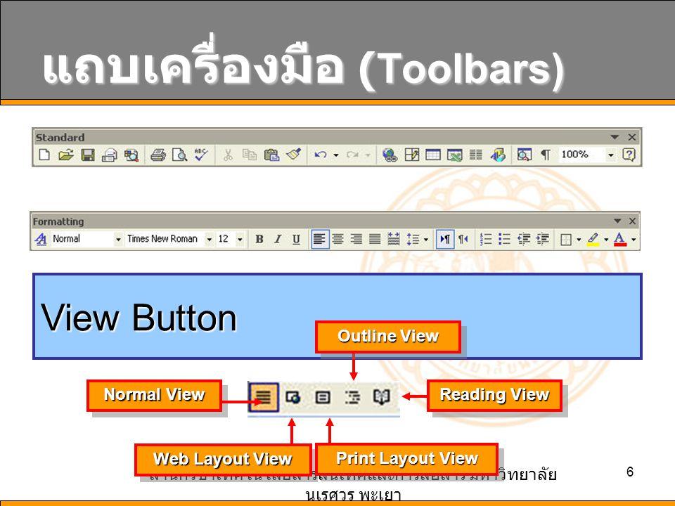 สำนักวิชาเทคโนโลยีสารสนเทศและการสื่อสาร มหาวิทยาลัย นเรศวร พะเยา 6 แถบเครื่องมือ (Toolbars) View Button Web Layout View Print Layout View Reading View