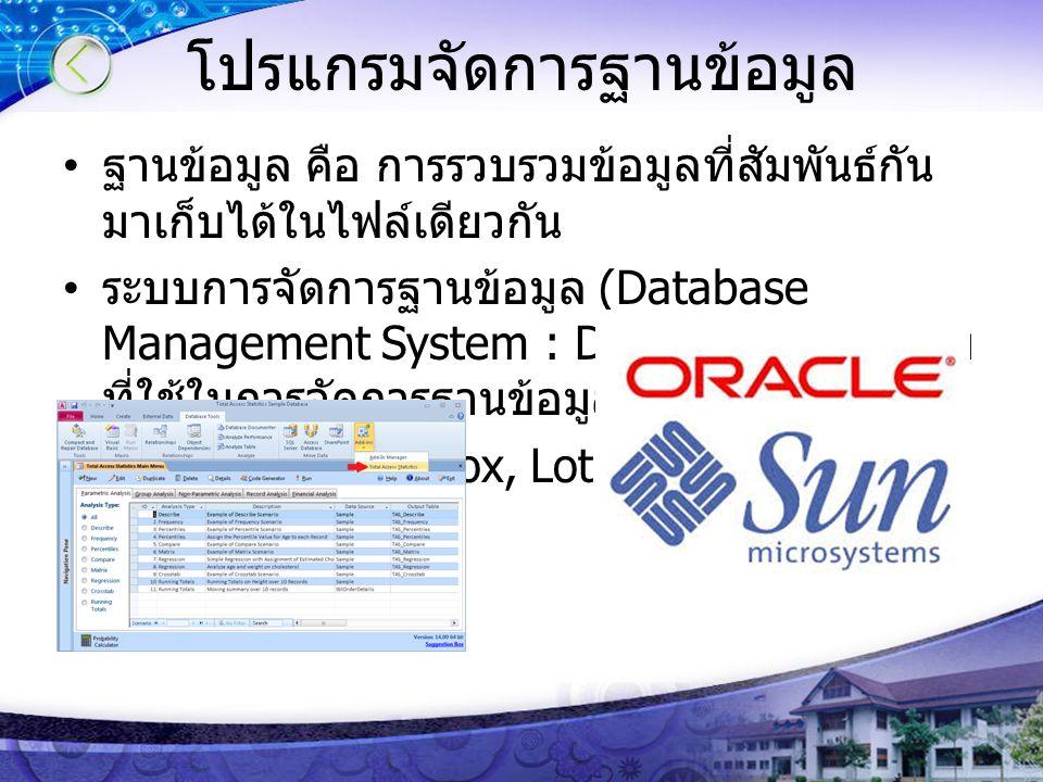 โปรแกรมจัดการฐานข้อมูล ฐานข้อมูล คือ การรวบรวมข้อมูลที่สัมพันธ์กัน มาเก็บได้ในไฟล์เดียวกัน ระบบการจัดการฐานข้อมูล (Database Management System : DBMS)