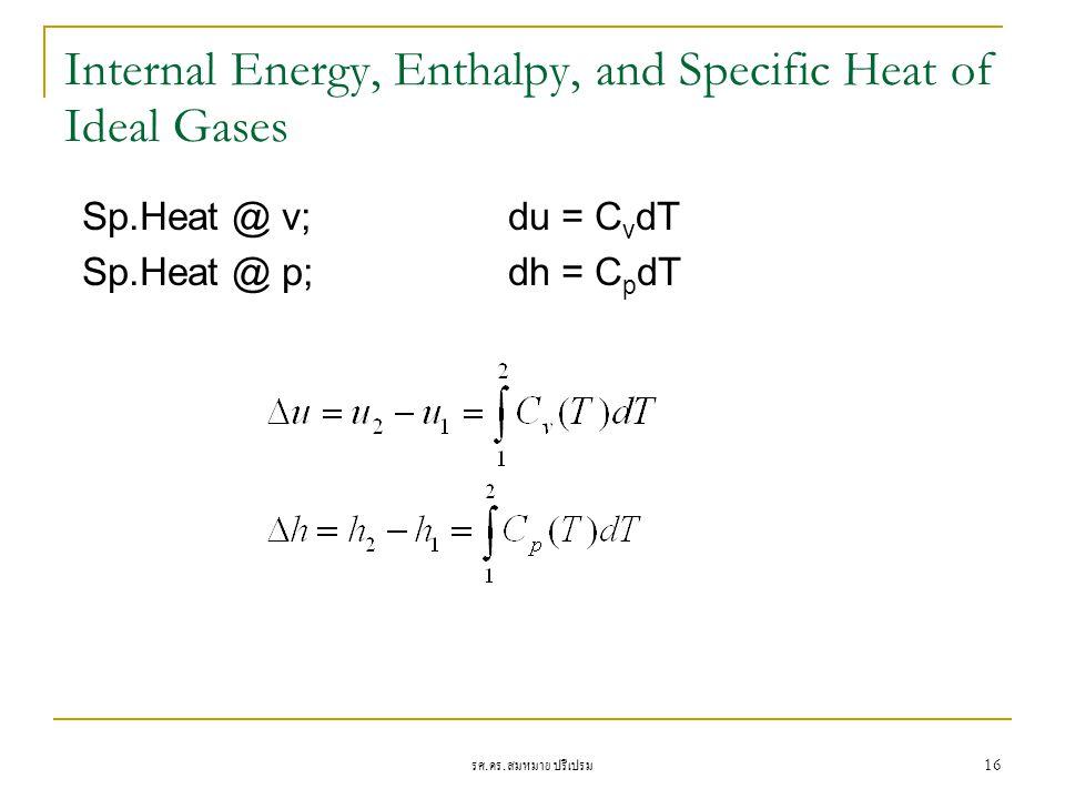 รศ. ดร. สมหมาย ปรีเปรม 16 Internal Energy, Enthalpy, and Specific Heat of Ideal Gases Sp.Heat @ v;du = C v dT Sp.Heat @ p;dh = C p dT