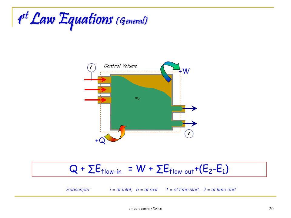 รศ. ดร. สมหมาย ปรีเปรม 20 1 st Law Equations (General) +W Control Volume m1m1 m2m2 +Q Q + ∑E flow-in = W + ∑E flow-out +(E 2 -E 1 ) i e Subscripts:i =