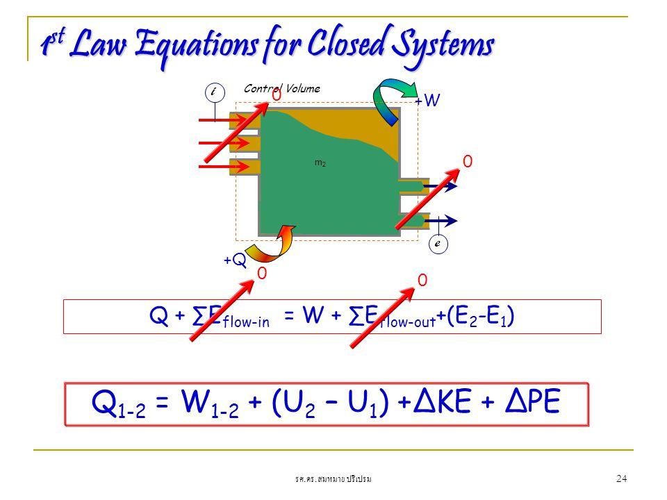 รศ. ดร. สมหมาย ปรีเปรม 24 1 st Law Equations for Closed Systems Q + ∑E flow-in = W + ∑E flow-out +(E 2 -E 1 ) +W Control Volume m1m1 m2m2 +Q i e Q 1-2