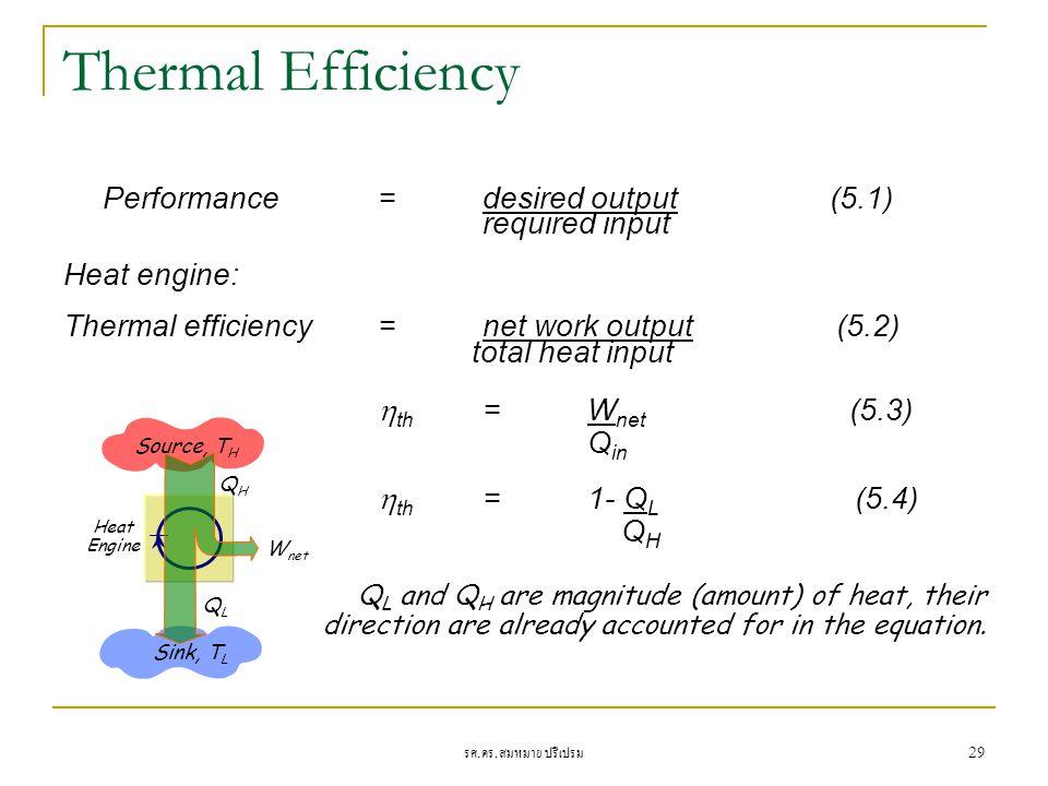 รศ. ดร. สมหมาย ปรีเปรม 29 Thermal Efficiency Performance = desired output (5.1) required input Heat engine: Thermal efficiency=net work output (5.2) t