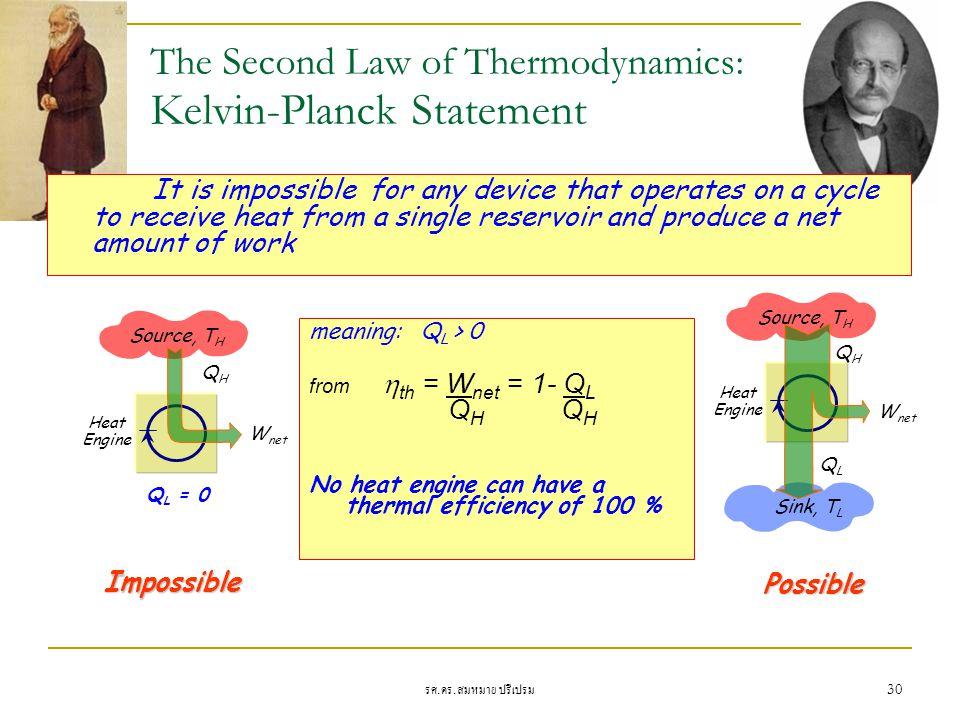 รศ. ดร. สมหมาย ปรีเปรม 30 The Second Law of Thermodynamics: Kelvin-Planck Statement It is impossible for any device that operates on a cycle to receiv