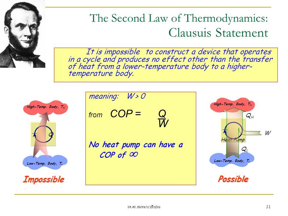 รศ. ดร. สมหมาย ปรีเปรม 31 Heat Pump W The Second Law of Thermodynamics: Clausuis Statement It is impossible to construct a device that operates in a c