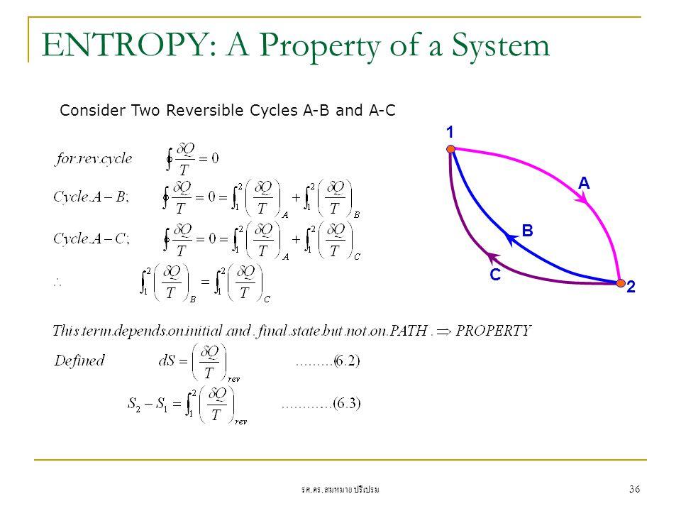 รศ. ดร. สมหมาย ปรีเปรม 36 ENTROPY: A Property of a System C B A 1 2 Consider Two Reversible Cycles A-B and A-C