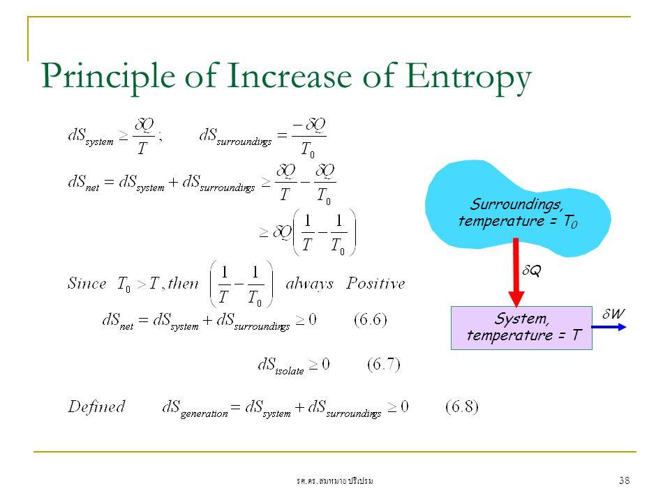 รศ. ดร. สมหมาย ปรีเปรม 38 Principle of Increase of Entropy Surroundings, temperature = T 0 System, temperature = T WW QQ