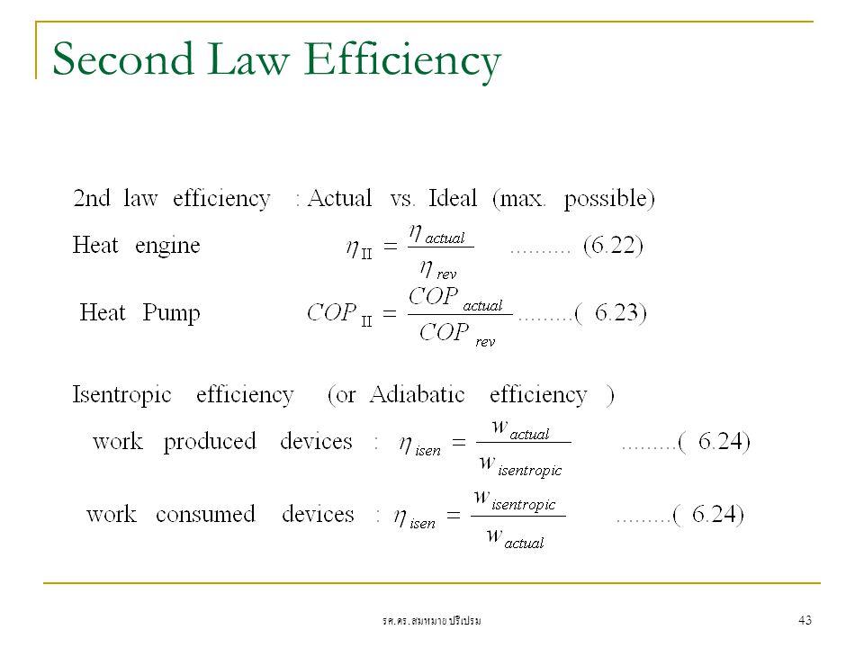รศ. ดร. สมหมาย ปรีเปรม 43 Second Law Efficiency