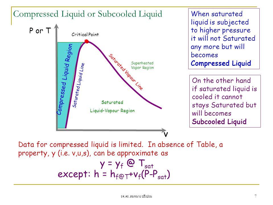 รศ. ดร. สมหมาย ปรีเปรม 7 Compressed Liquid or Subcooled Liquid P or T v Critical Point Superheated Vapor Region Saturated Liquid-Vapour Region Compres