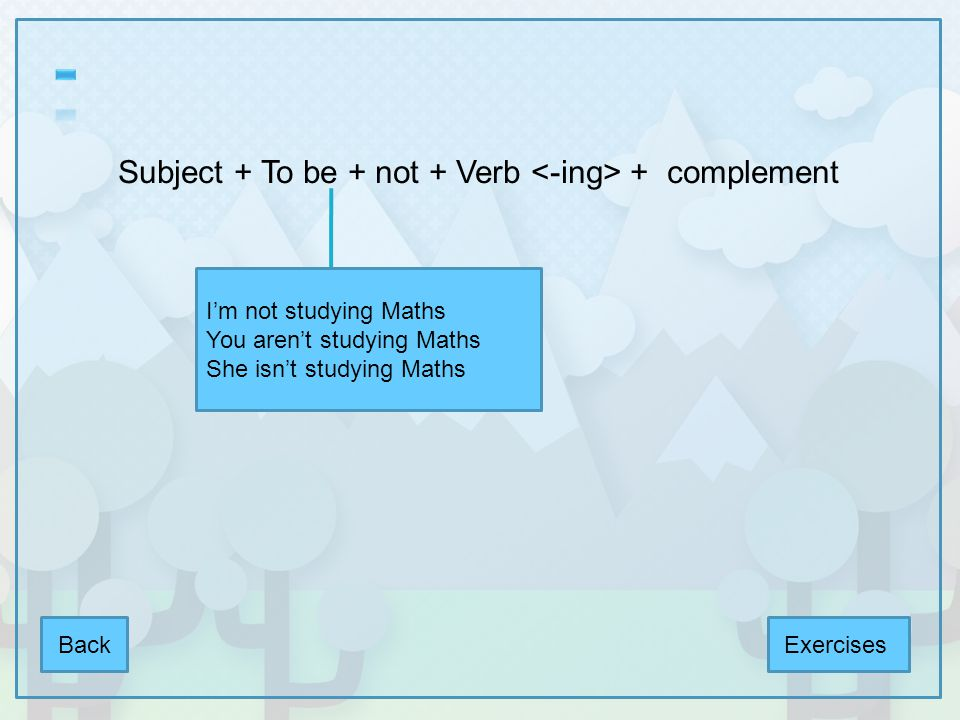 To Be + subject + verb + complement + .