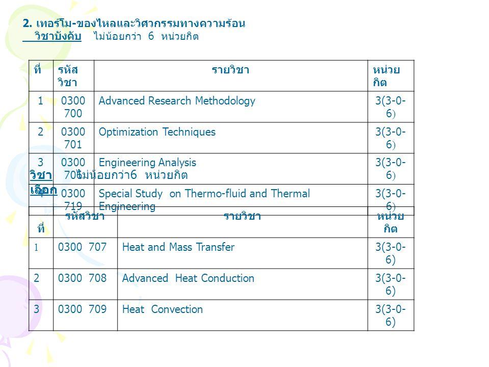 2. เทอร์โม - ของไหลและวิศวกรรมทางความร้อน วิชาบังคับ ไม่น้อยกว่า 6 หน่วยกิต ที่รหัส วิชา รายวิชาหน่วย กิต 10300 700 Advanced Research Methodology3(3-0