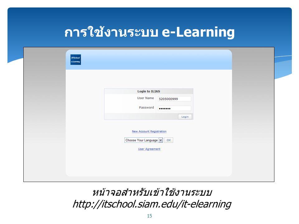 การใช้งานระบบ e-Learning 15 หน้าจอสำหรับเข้าใช้งานระบบ http://itschool.siam.edu/it-elearning