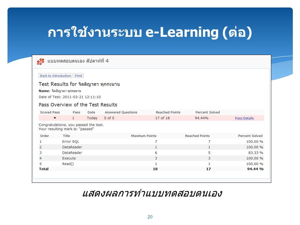 การใช้งานระบบ e-Learning (ต่อ) 20 แสดงผลการทำแบบทดสอบตนเอง