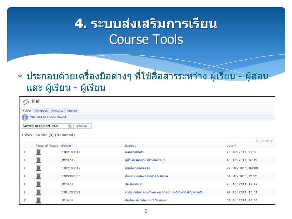 ประกอบด้วยเครื่องมือต่างๆ ที่ใช้สื่อสารระหว่าง ผู้เรียน - ผู้สอน และ ผู้เรียน - ผู้เรียน 9 4. ระบบส่งเสริมการเรียน Course Tools