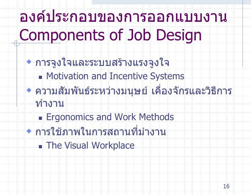 16 องค์ประกอบของการออกแบบงาน Components of Job Design  การจูงใจและระบบสร้างแรงจูงใจ Motivation and Incentive Systems  ความสัมพันธ์ระหว่างมนุษย์ เคื่