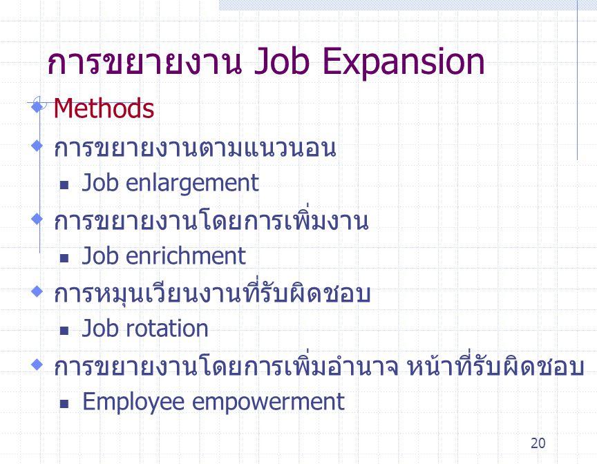 20 การขยายงาน Job Expansion  Methods  การขยายงานตามแนวนอน Job enlargement  การขยายงานโดยการเพิ่มงาน Job enrichment  การหมุนเวียนงานที่รับผิดชอบ Jo