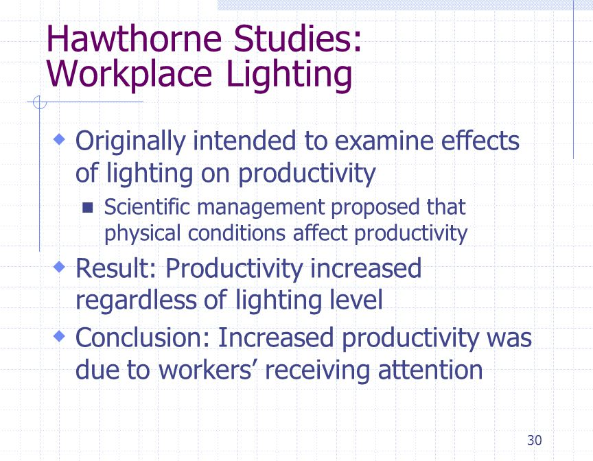 30  Originally intended to examine effects of lighting on productivity Scientific management proposed that physical conditions affect productivity 