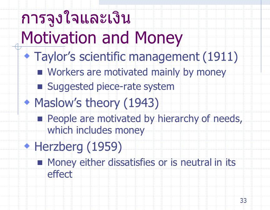 33 การจูงใจและเงิน Motivation and Money  Taylor ' s scientific management (1911) Workers are motivated mainly by money Suggested piece-rate system 