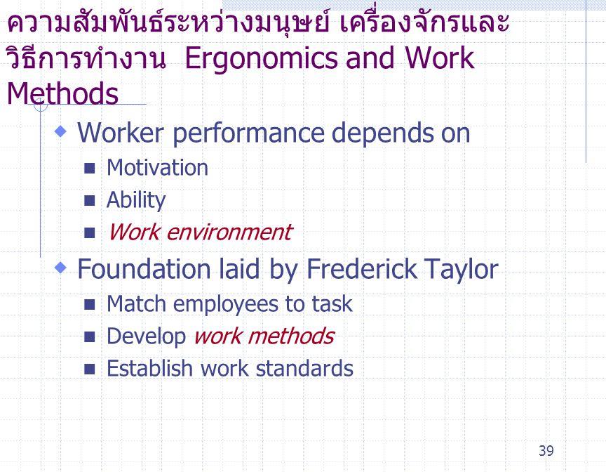 39 ความสัมพันธ์ระหว่างมนุษย์ เครื่องจักรและ วิธีการทำงาน Ergonomics and Work Methods  Worker performance depends on Motivation Ability Work environme
